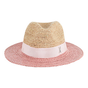 Two tone panama hat baby pink