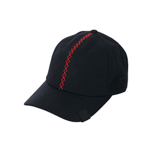 Red stitch velcro point ballcap black