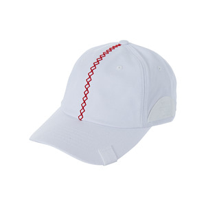 Red stitch velcro point ballcap white